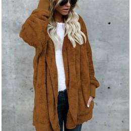 S-5XL Faux futra pluszowego misia płaszcz kurtka kobiety moda otwórz Stitch zima z kapturem płaszcz kobiet z długim rękawem Fuzz