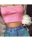 Hugcitar litery haft spaghetti paski patchwork sexy crop tops 2018 lato kobiet mody camis