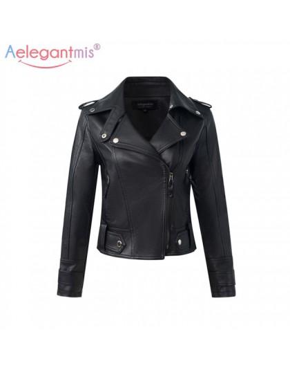 Aelegantmis moda PU skórzana kurtka kobiet szczupła krótkie kurtki motocyklowe miękkie płaszcz skórzany pani jesień zima podstaw