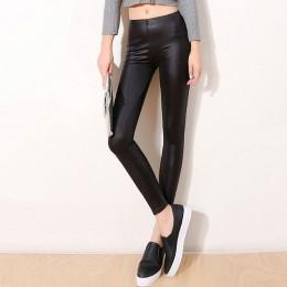 S-3XL nowy jesień 2019 moda Faux Leather Sexy cienkie czarne legginsy Calzas Mujer leginsy legginsy rozciągliwe Plus rozmiar 4XL