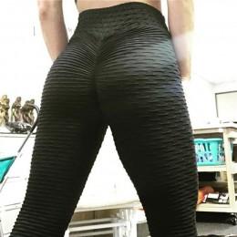 CHRLEISURE czarne legginsy damskie poliester długości kostki standardowe krotnie spodnie elastyczność utrzymać szczupły Push Up