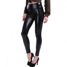S-5XL Plus rozmiar skórzane legginsy kobiety wysoka talia czarne legginsy PU skórzane Legging moda spodnie skórzane kobiet