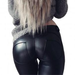 Modne elastyczne długie legginsy damskie imitacja skóry optycznie wydłużające nogi wysoki stan guma w pasie czarne srebrne