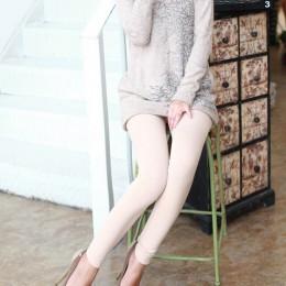Jednolity kolor kobiet Stretch zagęścić legginsy ciepłe spodnie obcisłe bez stóp