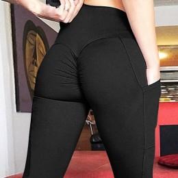 CHRLEISURE Push Up Fitness legginsy kobiet wysokiej talii trening Legging z kieszeniami Patchwork spodnie legginsy kobiety Fitne