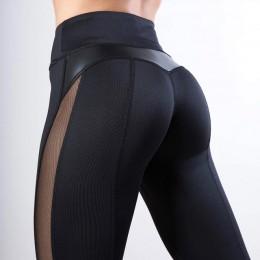 CHRLEISURE solidna wysoka talia Fitness Legging kobiety serce treningu legginsy Femme moda Mesh i patchwork skóra PU legginsy