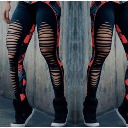 Modne elastyczne dopasowane legginsy damskie na siłownię fitness zmysłowe rozcięcia na nogawkach w kolorze czerwonym szarym