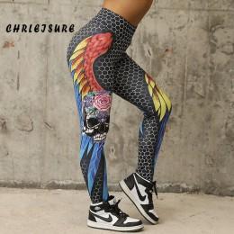 CHRLEISURE o strukturze plastra miodu czaszki Fitness Legging jednolity kolor Sexy moda drukuj legginsy poliester skrzydła wysok
