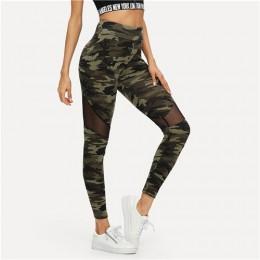 SHEIN Multicolor Mesh Insert Camo drukuj legginsy sportowe Patchwork Sheer Crop spodnie kobiet jesień Athleisure legginsy