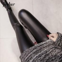 Jielur 2019 jesień PU Faux skórzane legginsy kobiet 4 kolory spodnie obcisłe kobiet koreański Slim panie z polaru ołówek leggins