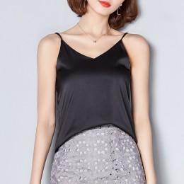Kobiety Camis jedwab Crop Top kobiety Camisole 2019 lato styl Sexy kamizelka bez rękawów Slim biała bluzka z odkrytymi plecami T