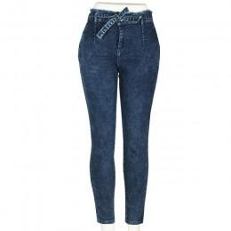 Wysoka talia Jeans kobiety Streetwear bandaż Denim Plus Size dżinsy Femme ołówek spodnie Skinny Jeans kobieta