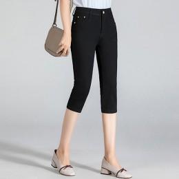 GAREMAY rozmiar Plus obcisłe Capris dżinsy kobieta kobiet Stretch kolano długość Denim spodenki jeansowe spodnie kobiet z wysoki