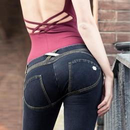 Odzież damska Skinny Slim Push Up długie spodnie jeansowe na co dzień Sexy elastyczna wysoka talia 4 kolory Femme spodnie jeans