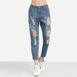 ROMWE niebieski zgrywanie w trudnej sytuacji chłopaka kostki Denim Jeans kobiety na co dzień lato jesień zwykły proste nogawki s