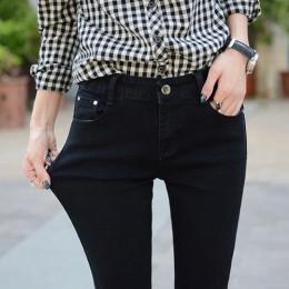 Tataria Skinny dopasowane dżinsy dla kobiet w stylu Vintage styl czarne kobiety dżinsy kobiet Denim ołówek spodnie Stretch korea