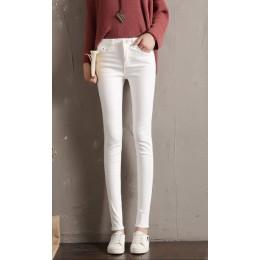 LYJMTDBK damskie białe spodnie ołówek spodnie 2019 wiosna i jesień przycisk kieszeń spodnie damskie wysokiej talii elastyczne st