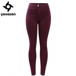 2035 Youaxon kobiet darmowa wysyłka bordowy elastyczne spodnie jeansowe spodnie spodnie spodnie Skinny ołówek wysokiej zwężone k