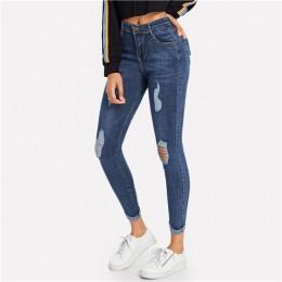 ROMWE granatowy zgrywanie Skinny Denim Jeans lato kobiety na co dzień rozporek na guziki wysoki stan w nowym stylu spodnie kobie