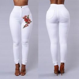 Modne dopasowane spodnie damskie z wysokim stanem legginsy z kieszeniami na pośladkach efektowny ozdobny haft