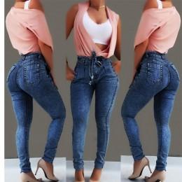 Wysokiej talii dżinsy dla kobiet Slim Stretch Denim Jean Bodycon Tassel pas bandaż Skinny Push Up dżinsy kobieta