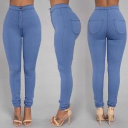 Pełnej długości spodnie bawełniane kobieta zwykły biały czarny wysokiej talii elastyczne Faux Jeans długie spodnie kobiece na co