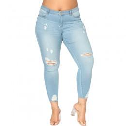 Romacci kobiety Plus rozmiar zgrywanie dżinsy 5XL 6XL 7XL Slim Denim zniszczone dziura wysokiej talii dżinsy na co dzień Stretch