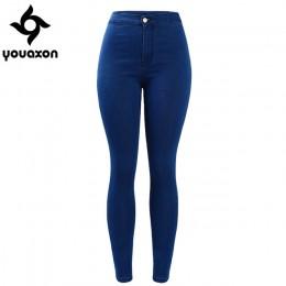 1894 Youaxon kobiet marki nowy High Street niebieski wysokiej talii Skinny spodnie jeansowe dżinsy dla kobiet Jean darmowa wysył