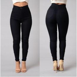 S-XXXLWomen Denim Skinny Jeggings spodnie wysokiej talii Jeansy ze streczem Slim spodnie damskie obcisłe sprane dopasowane dżins