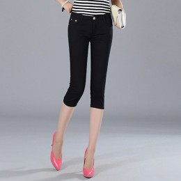 Skinny kobiet Capris spodnie jeansowe kobieta kolano długość Stretch Slim spodenki dżinsowe kobiety cukierki kolor lato Denim sp