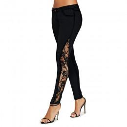 Wipalo kobiety dżinsy Plus rozmiar Sheer koronki boczne niskiej talii dżinsy szczupła na co dzień, chude koronki Panel ołówek De