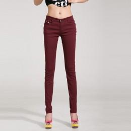 Kobiety dżinsy bawełniane ołówek legginsy Skinny dżinsy połowie talii kobieta Slim Fit kobieta pełna długość cukierki kolor