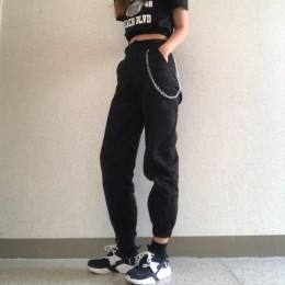 Wysokiej talii spodnie kamuflaż luźne biegaczy damskie armii harem spodnie kamuflażowe streetwear punk czarne spodnie cargo dams