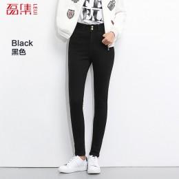 LEIJIJEANS 2019 Plus rozmiar przycisk fly kobiety jeans wysokiej talii czarne spodnie kobiety wysokie elastyczne spodnie obcisłe