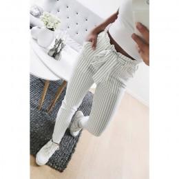 2018 nowe paski OL szyfonu wysokiej talii spodnie harem kobiet stringyselvedge lato styl na co dzień spodnie damskie spodnie
