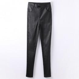 Damskie skórzane spodnie dla kobiet z wysokim stanem ołówkowe czarne legginsy