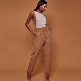 Na co dzień spodnie wysokiej talii jesień popędzający proste nogawki spodnie damski garnitur oficjalny spodnie damskie spodnie