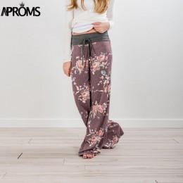 Aproms żółty kolor zablokowane szerokie spodnie nogi kobiet lato 2019 Streetwear wysokiej talii spodnie elastyczne przypadkowy s