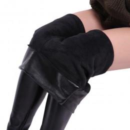 CHRLEISURE S-5XL kobiet Plus Size zimowe spodnie skórzane ciepłe aksamitne spodnie wysokiej talii spodnie damskie gruby odcinek