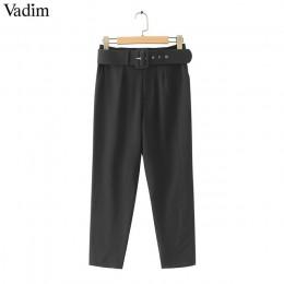 Vadim kobiety eleganckie czarne spodnie sashes kieszenie na zamek błyskawiczny stałe panie streetwear casual eleganckie spodnie