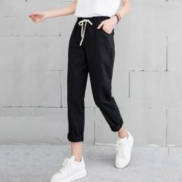Nowe Kobiety Casual Harajuku Wiosna Jesień Duży Rozmiar Długie Spodnie Stałe Elastyczny Pas Bawełna Lniane Spodnie Długość Kostk
