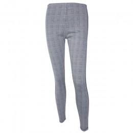 InstaHot elastyczne rozciągliwe boczne paski Plaid ołówek spodnie kobiety dorywczo jesień damskie spodnie elastyczne talia Tweed
