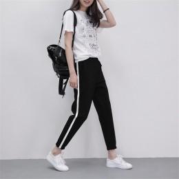 2019 wiosna spodnie dresowe kobiety dorywczo spodnie Harem luźne spodnie dla kobiet czarne paski boczne spodnie dresowe kobiet P
