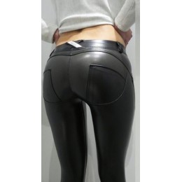 FQLWL Plus rozmiary PU spodnie skórzane kobiet elastyczny pas Hip Push Up czarny Sexy kobiet legginsy Jegging na co dzień Skinny