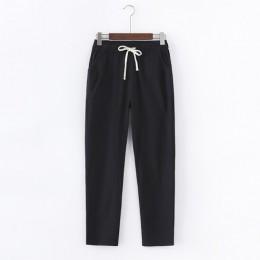 Garemay bawełniane spodnie lniane dla kobiet spodnie luźne dorywczo jednolity kolor kobiety Harem spodnie Capri duże rozmiary da