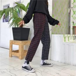 Modne stylowe luźne eleganckie długie spodnie damskie męskie w kratę wysoki stan dwa kontrastujące ze sobą kolory nogawek