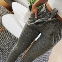 2019 OL wysokiej talii spodnie harem muszka sznurek słodkie elastyczne kieszenie w pasie spodnie typu casual pantalones