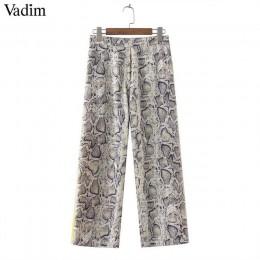 Vadim kobiety boczne paski wzór skóry węża spodnie elastyczne kieszenie w pasie panie casual streetwear moda spodnie mujer KA252