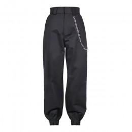 2019 moda łańcuch wojskowe armii kamuflażu spodnie kobiet czarny wysoka talia luźne spodnie kamuflażowe spodnie Street spodnie d