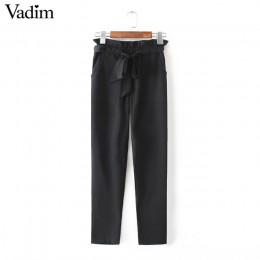 Kobiety OL szyfonu wysokiej talii spodnie harem muszka sznurek słodkie elastyczne kieszenie w pasie spodnie typu casual pantalon